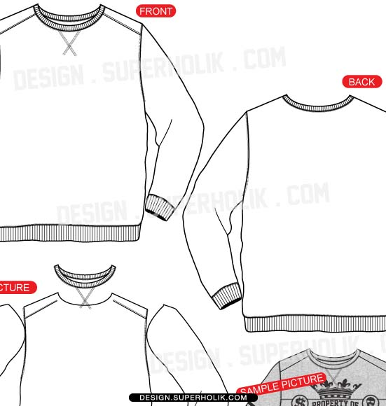 artscrew neck sweatshirt template vector long sleeve shirt template