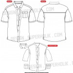 Button down shirt template vector