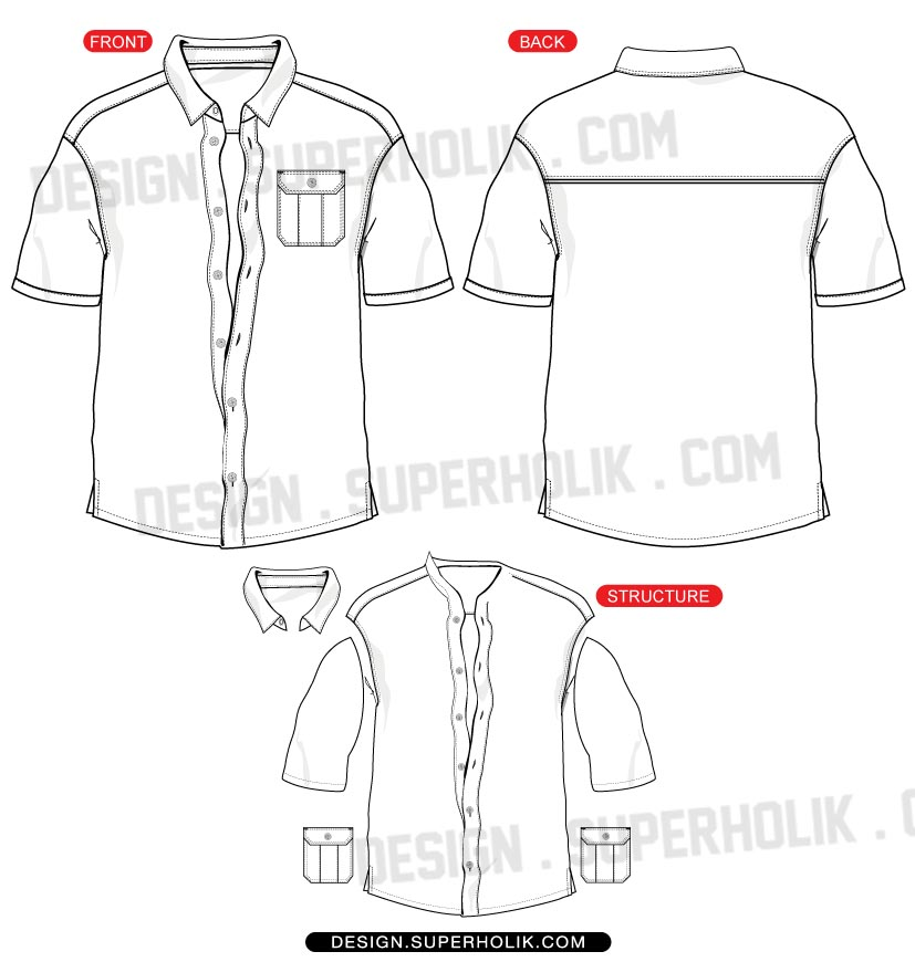 button down shirt vector template hellovector. Black Bedroom Furniture Sets. Home Design Ideas