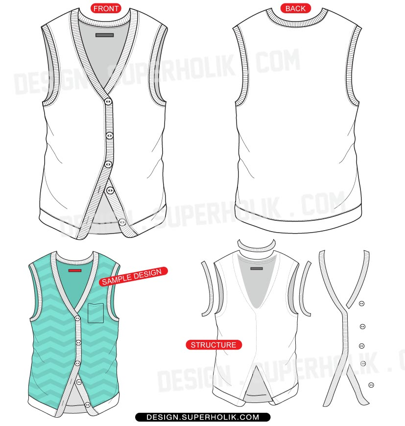 Vest vector template hellovector for Vest top template