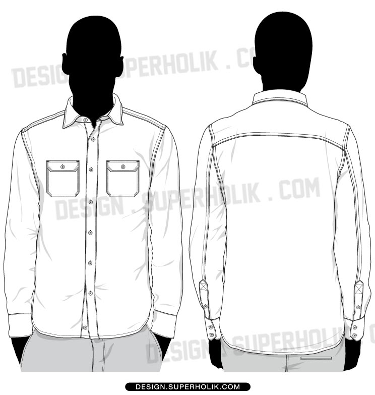 button down shirt template hellovector. Black Bedroom Furniture Sets. Home Design Ideas