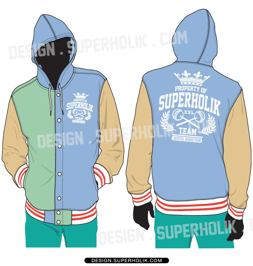 Hooded Varsity Jacket template
