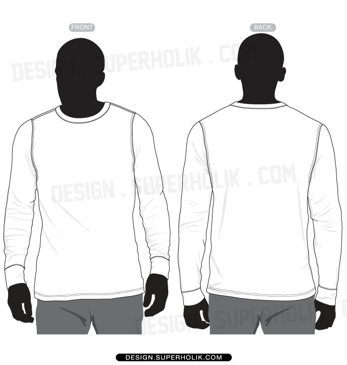 Buy long sleeve t shirt vector template - 65% OFF! Share discount