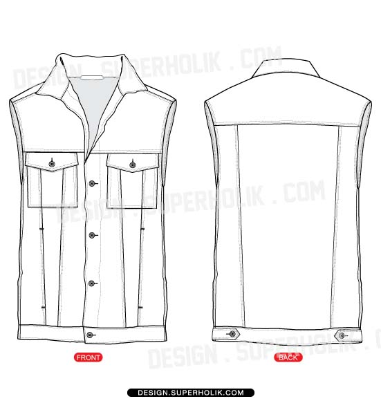Denim vest template set hellovector for Vest top template