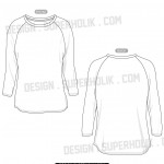 3/4 Sleeve Raglan t-shirt template