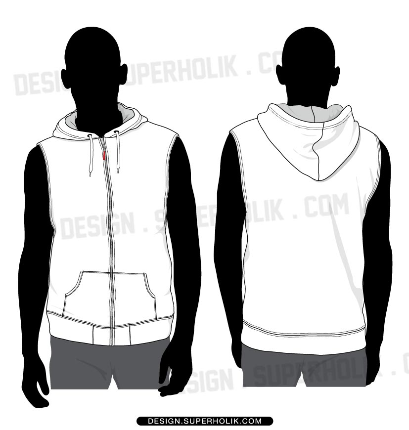 Sleeveless hoodie shirt template set hellovector for Vest top template