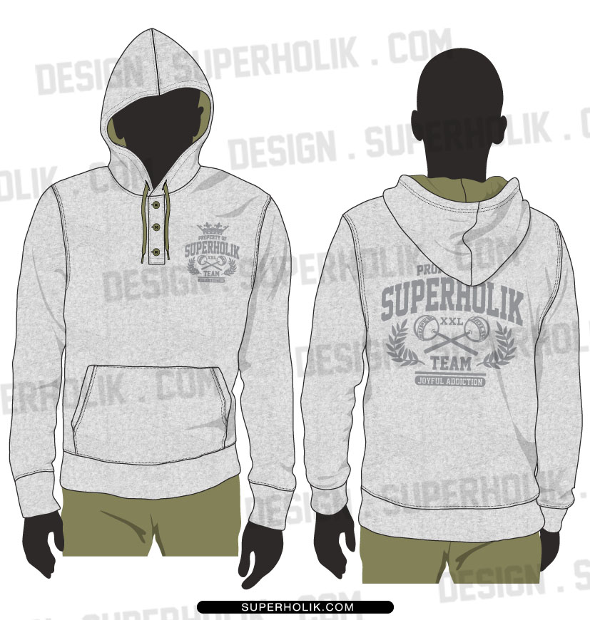 Henley neck hooded shirts