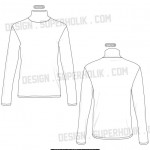 mock neck long sleeve shirt template