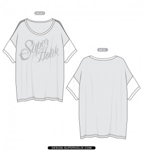Drop Shoulder Short Sleeve Tee Template Flat